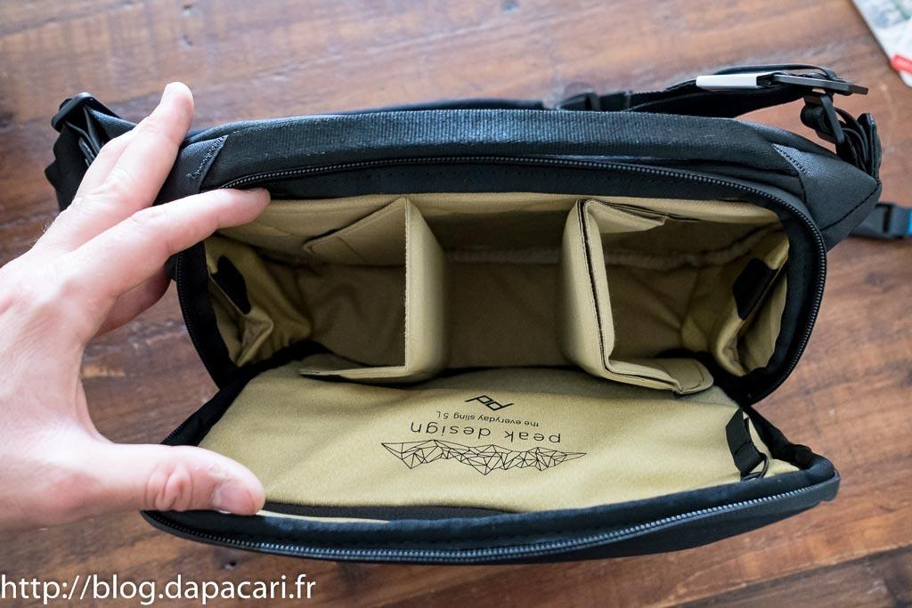 peak design sling 5L inside