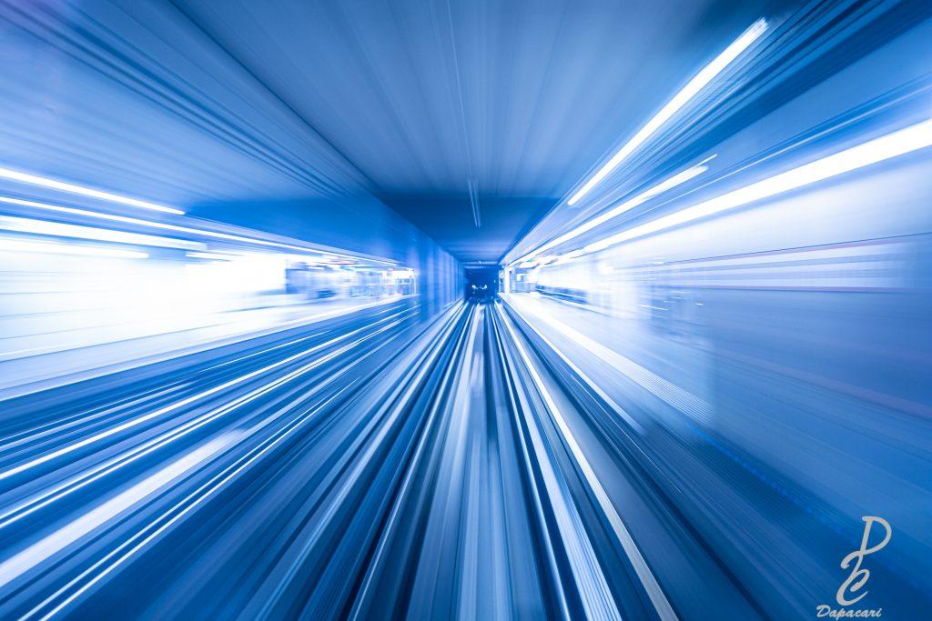 Photo métro de Lyon effet vitesse à l'intérieur du métro